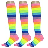 KONY Women's 3 Pairs Cotton Colorful Neon Striped Rainbow Knee High Socks Comfortable Stay Up Best Gift Size 6-10 (Classic Rainbow-2)