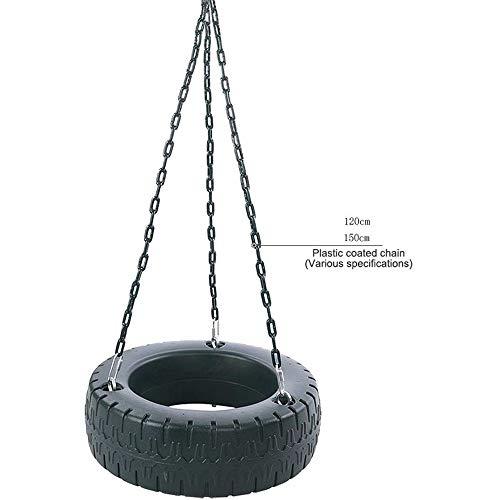 Amiiaz Columpios para niños Neumático de Goma 3 Cadenas Ganchos de Seguridad Columpio de jardín para niños para hogar con Cadenas Ajustables Al Aire Libre Asientos giratorios- Negro