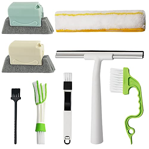 8 Pcs Hand-held Groove Gap Cleaning Tools, 2-in-1 Window Squeegee Cleaner Door Window Track Cleaning Brush, Window Sill Crevice Sweeper for Shutter/Shower Door/Tile Lines/Air Conditioner/Car Vents