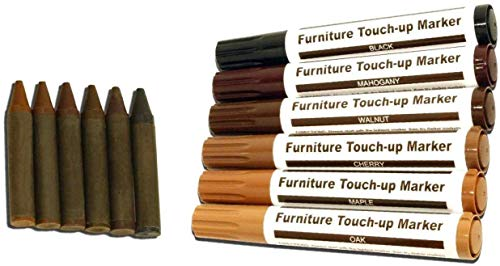 Total Furniture Repair System -Scratch Restore & Repair Touch-Up Kit - Felt Tip Markers, Wax Stick Crayons 24 Pcs