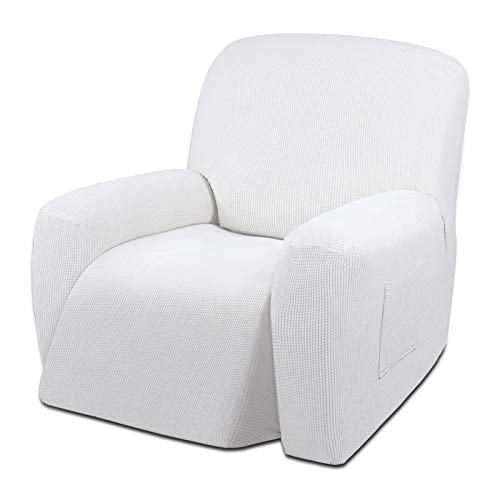Easy-Going Oversized Recliner Stretch Sofa Slipcover Sofa Cover 1 Piece Furniture Protector Couch Soft with Elastic Bottom Kids,Polyester Spandex Jacquard Small Checks(Oversize Recliner,Snow White)
