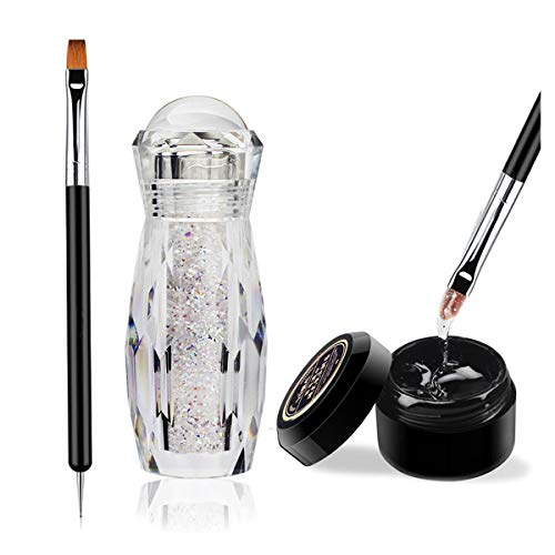 Micro AB Rhinestones with Glue and Tool, 1 Bottle of Ultra Mini 1.2mm Caviar Beads Rhinestones for 3D Nail Art with 8ml Glue and Tool Included