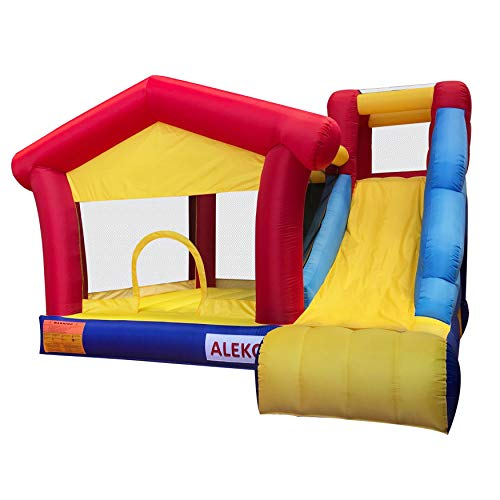 ALEKO BHPGROUND Inflatable Commercial Dual Slide Bouncy Bounce House Jump and Slide Bouncer with UL Approved Blower 13 x 12 x 9 Feet