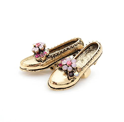 Pin De Zapato Vintage Damas Metal Rosa Rhinestone Flor Arco Zapato Pin...