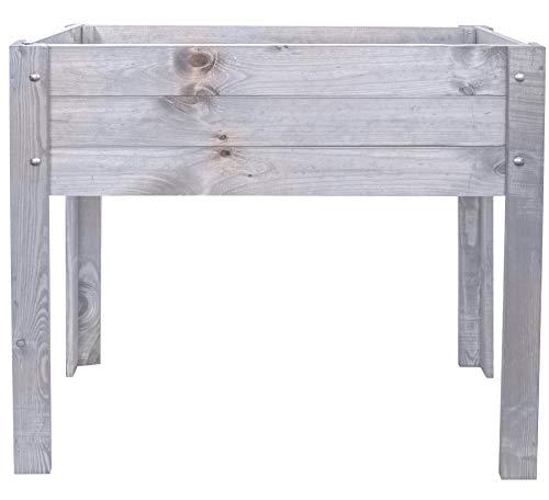 mgc24® Hochbeet - Kiefernholz anthrazit/grau rechteckig, für Garten/Terrasse/Balkon - 80 x 40 x 78 cm