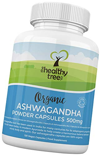 Organic Ashwagandha Capsules by TheHealthyTree Company - Vegan, 100% Natural Ayurvedic Adaptogenic Herb for Mind, Body and Spirit - 120 x 500mg Ashwagandha Root Tablets
