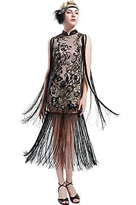 BABEYOND 1920s Flapper Long Fringe Dress Gatsby Beaded Vintage Cheongsam Dress