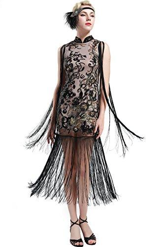ArtiDeco Cheongsam Vestido Mujer 1920s Vestido de estilo Vintage con Flecos Flapper Vestido Disfraces Gran Gatsby