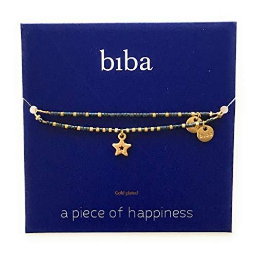 Wunschkarte SET Stern Star Armband gold blau open Freundschaftsarmband Make a Wish CLW Biba