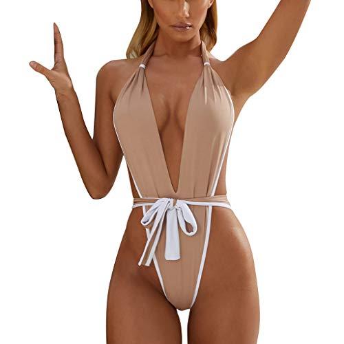 RISTHY Bikini 2019 Mujer Traje de Baño Sexy Serpentina Leopardo Halter Conjunto de Bañador Ropa de Baño Push up Brasileños Retro Sexy Bikini de Playa Vacaciones Una Pieza Verano