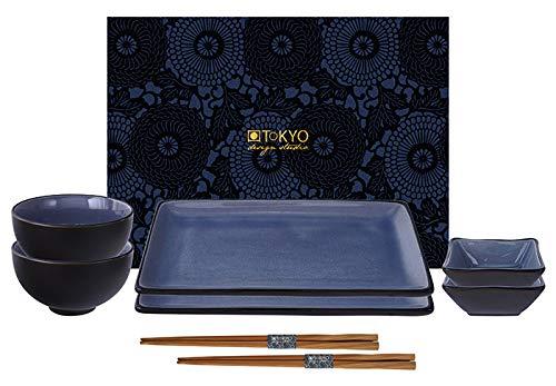 TOKYO design studio, Glassy Blau, Set mit 2 Teller + 2 Sauce Schalen + 2 Reis Schalen+ 2 Essstäbchen, 8-TLG, Steingut