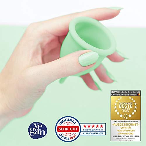 DIVINE CUP Menstruationstasse – Spring Symphony/Mintgrün – Made in Germany – geruchlos – medizinisches Silikon – Alternative zu Tampons und Binden (S – Klein) - 3