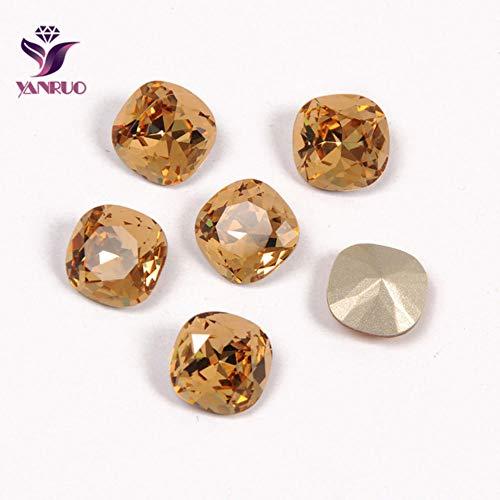 Sierkussen met strass-steentjes, strass, genaaide kristallen, voor naaiwerk, bruidsjurk, diamanten en stenen, Light Colorado Topas, 12 stuks