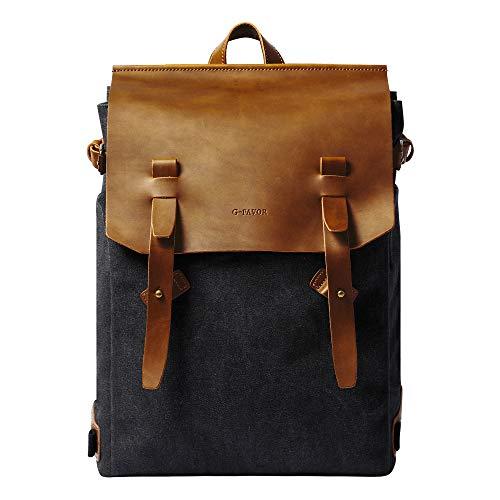 S-POINT Casual Backpack Vintage Canvas Backpacks Unisex Backpack Travel Daypack College Business Rucksack Daypack for Men Women (Black)