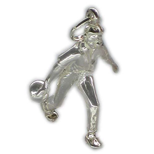 Bowling-Anhänger Sterling-Silber 925 1 Bowler Bowler 10 Pin Kegel
