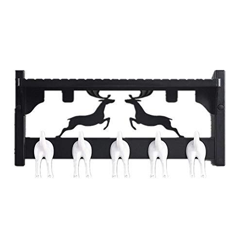 YLCJ Coat Hanger Coat Hanger Wandkapstok met 5 haken Coat rack (Kleur: wit, Afmetingen: 44 x 22.5 x 18 cm)