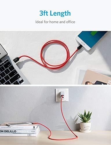 Anker [2-Pack] Powerline+ USB C Kabel, 0.9m, für Galaxy S8, S8+, S9,S10, MacBook, Sony XZ, LG V20 G5 G6, HTC 10, Xiaomi 5 und mehr (Rot)