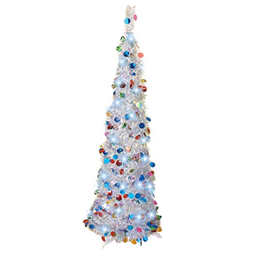 Collections Etc 4-Foot Silver Sequins Pre-lit LED Lights White Pop Up Tree