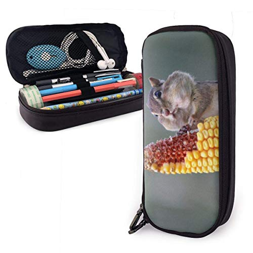 XCNGG Hamster Eating Corn Leather Pencil Case Big Capacity Pencil Pouch Large Pencil Holders Makeup Bag Double Zippers for Teen Boys Girls School Students Pens