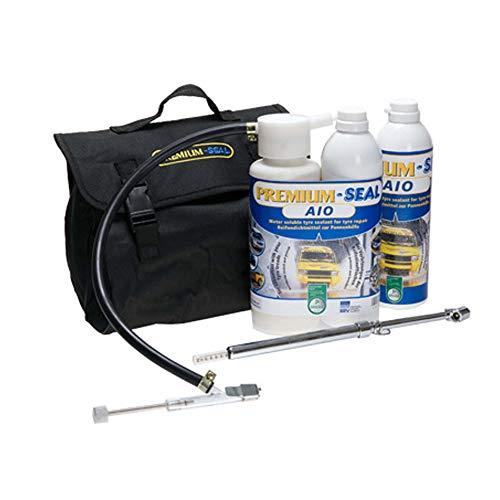 Premium-Seal Reifenpannenset AIO 700ml, Reifendichtmittel für SUV, Camper, Transporter Reifen bis 5 bar,Zwillings-Bereifung