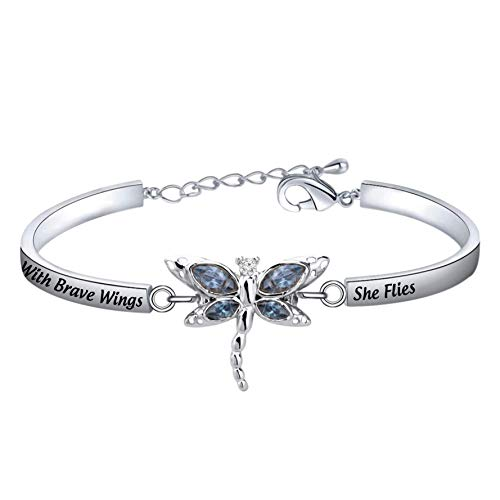 ENSIANTH Hummingbird Bee Butterfly Bracelet with Brave Wings She Flies Bracelet Inspirational Jewelry BFF Gift