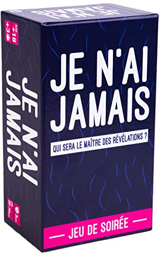 JE N'AI JAMAIS - Le Jeu des Révélations Entre Amis - Jeu de Société pour Animer Soirées et Apéros | Jeu de Cartes Adulte et Famille - Drôle et Ambiance - 440 Cartes - Edition Limitée Blanc & Bleu