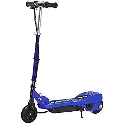 HOMCOM Kids Folding Electric Bike Children E Scooter Ride on Toy 2 x 12V Recharge Battery 120W Adjustable Height PU Wheels Suitable for 7 to 14 yrs - Blue