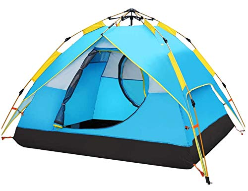 HEWOLF Automatic Camping Pop-up Tent 2-3 Person Instant Setup Hydraulic Tents Double Layer Dome Tent Lightweight Family Tents for Outdoor Camping Fishing Holiday Tents - Lakeblue