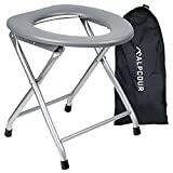 Alpcour Portable Toilet Seat – Compact Lightweight Indoor & Outdoor Commode w/Built-In Bag Hooks & Travel Bag – Heavy-Duty Stainless-Steel Chair is Durable & Convenient For Camping, Travel & Emergency