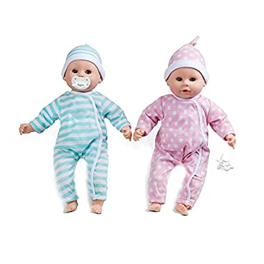 """Melissa & Doug Mine to Love Twins Luke & Lucy 15"""" Light Skin-Tone Boy and Girl Baby Dolls with Rompers, Caps, Pacifiers"""