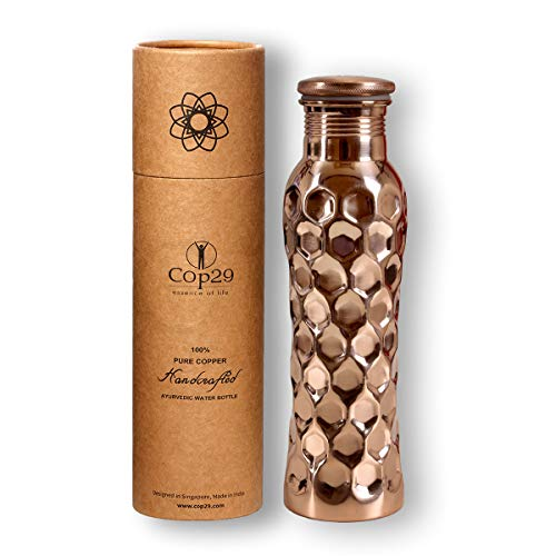 COP29 Botella de Agua de Hada de Cobre Puro Hecha a Mano: un Recipiente de Cobre ayurvédico, Embalaje de Regalo: 900 ml / 30 oz (Panal Brillante)