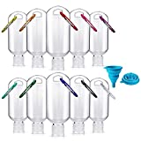 10PCS Portable Travel Bottles,50 ml Leakproof Refillable Plastic Empty Bottles Hand Sanitizer Containers with Carabiner Keychain Flip Cap Squeezable Bottles for TraveL Outdoor Activities School