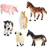 TOYANDONA 6 Piezas Modelo de Animal de Granja Juego de Simulación Realista Modelo de Animal Vivo Cerdo Perro Vaca Granja Figura de Juguete para Niños