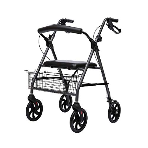 Andador, Andador para Personas Mayores Y Silla De Ruedas Modelo Colón Frenos Plegables En Las Asas Cesta Y Asiento Regulables En Altura Andador Ayudas para Discapacitados