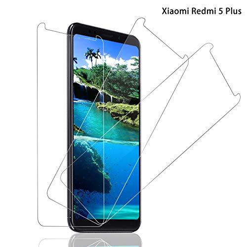 Panzerglas Bildschirmschutzfolie für Xiaomi Redmi 5 Plus, [3 stück] 9H Festigkeit Panzerglasfolie, Anti-Kratzer Schutzglas, Anti-Öl, Bläschenfrei Transparent, Xiaomi Redmi 5 Plus Panzerglas Schutzfolie