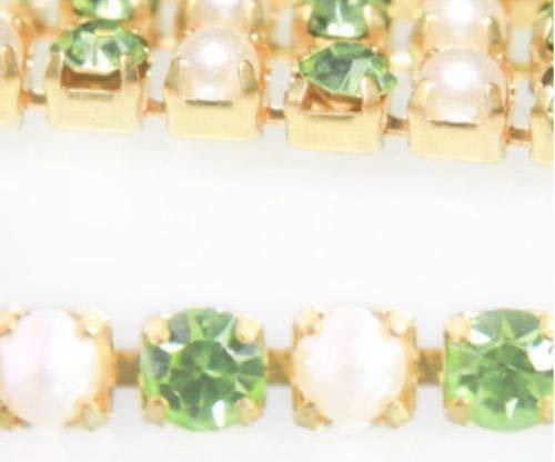 1m 1.1 yds Chrysolith Grün, Weiß, Perle-Cup-Kette Messing Strass Trim-Schmuck-Kristall-Hand-Stickerei Goldwork Luneville Tambour indischen 3mm