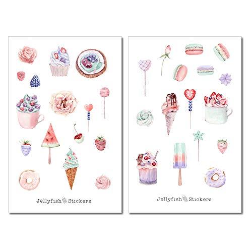 Süßigkeiten Pastell Sticker Set | Aufkleber | Journal Sticker | Planersticker | Sticker Essen | Sticker Kuchen | Eis Sticker
