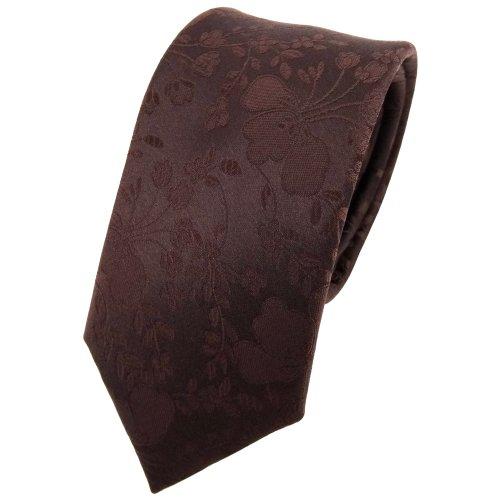 Ohne Markenname étroit Designer cravate en soie brun foncé à motifs - cravate en soie silk