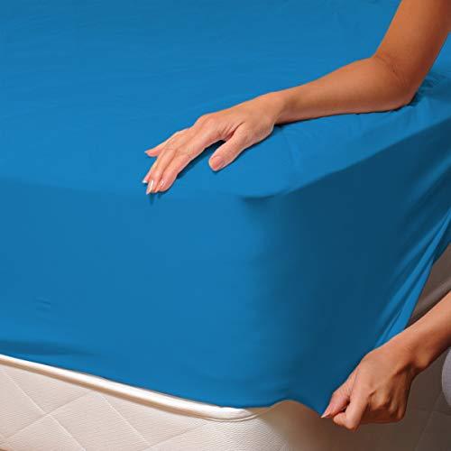 SoulBedroom Azul 100% Algodón Sábana Bajera Ajustable 150x200 cm