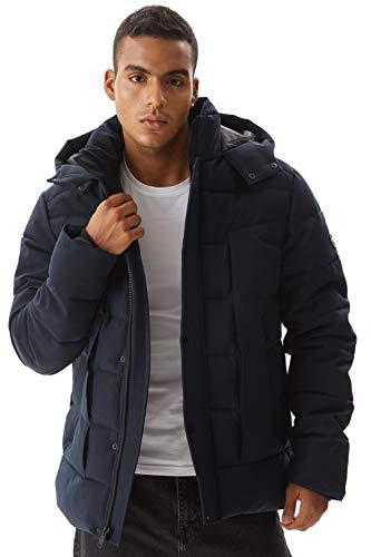 Molemsx Mens Parka Coats, Men's Men's Anorak Jackets Classic Winter Hooded Packable Puffer Jacket Outdoor Windproof Waterproof Ski Jacket,Gift for Men Navy,Large