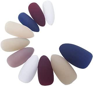 120Pcs Colorful Full Cover Medium Matte Stiletto Shape Sharp False Gel Nails Art Tips Sets(White Milk Tea Nude Blue Wine Red)