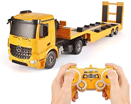 RC Truck Licensed Detachable Flatbed Semi-Trailer Engineering Tractor Remote Control Die-Cast Car Model Kids Electronics Hobby Toy with Sound and Light Effect