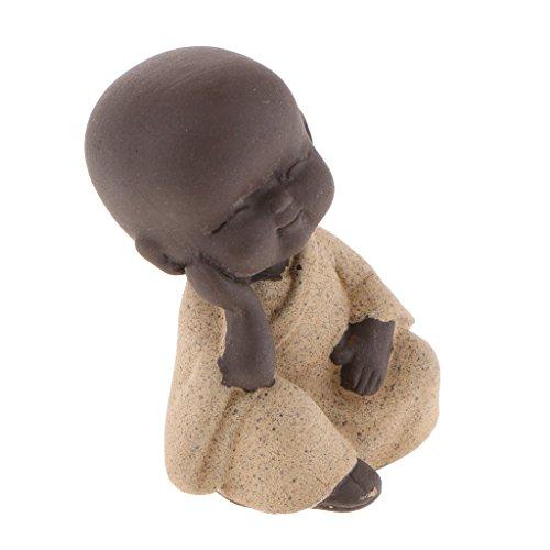 non-brand Lila Sand Mönch Buddha Figur Skulptur Statuen Set, Tee Tray Dekor - Gelb
