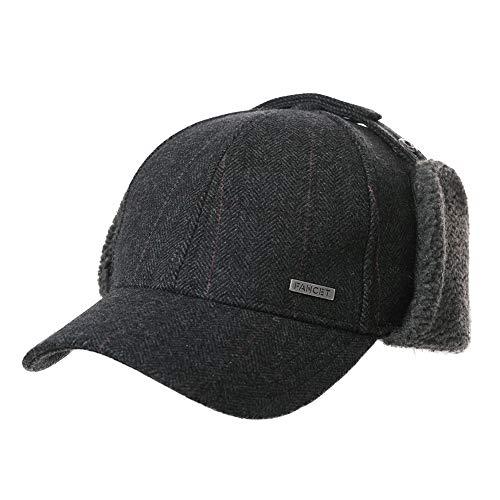 Comhats Comhats Unisex Fleece Baseball Cap mit Ear Flap 62% Wolle Winter Ohrenschutz Mütze Schwarz