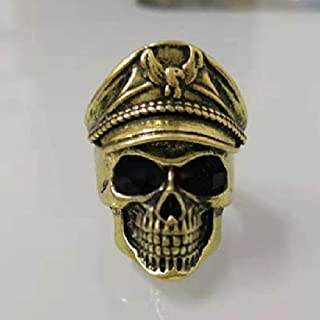 Cqqz Ancient World War II Memorial immortal army Double Eagle Hat male beard Army Ring captain officer Skull Ring(Bronze, ...