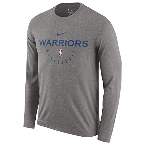 Nike Golden State Warriors Gold Practice Performance Legend Long Sleeve T-Shirt Gray (XX-Large)