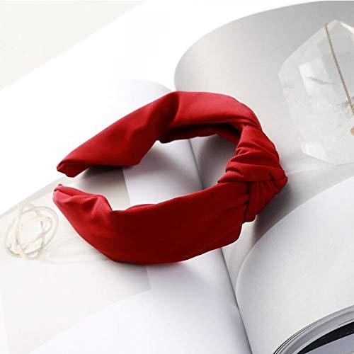 U/D Sygjal Niñas plástico Aros de Pelo Accesorios Mujeres sólido de Color Simple Anudada Hairbands de Tela Ancha Las Vendas Side (Color : Rojo, Size : Size Fits All)