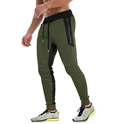 KEFITEVD Heren Sport-joggingbroek Elastische Hardloopbroek Ademende trainingsbroek met 3 ritszakken