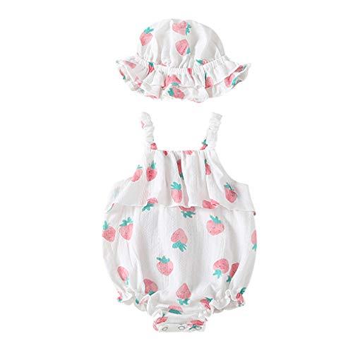 Allegorly Baby Mädchen Ärmelloser Overall Sets Sommer Erdbeer-Druck Eleganter Jumpsuit mit Rüschen Bodys Baby Strampler Bodysuit +Bedruckter Sonnenhut 0-18 Monate