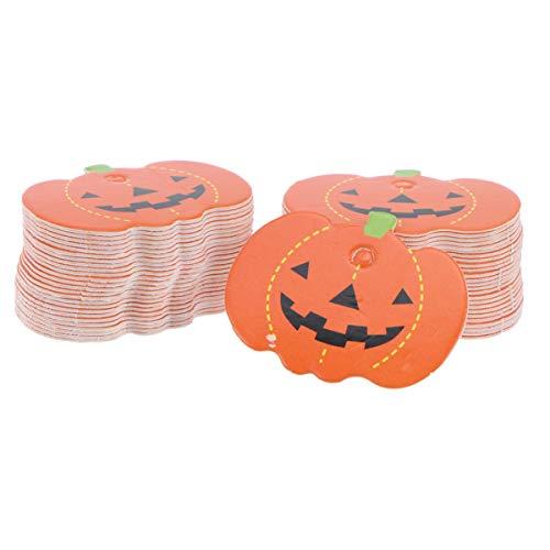 LEDMOMO ハロウィン タグ ギフトタグ かぼちゃ タグ メッセージ カード 紙タグ 手作り タグ DIY 100個入り